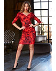 Red Printed Ruched Dress Photo