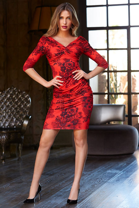Red printed ruched dress image