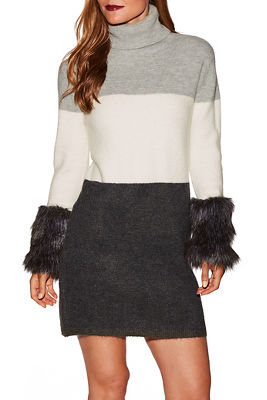 Stripe faux fur cuff sweater dress
