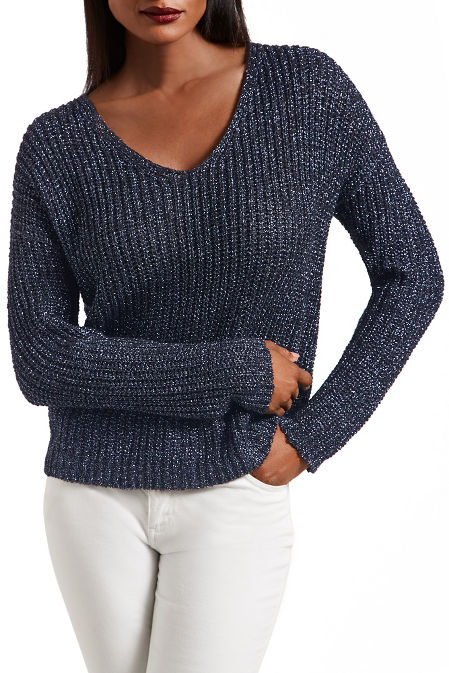 V neck shimmer sweater image