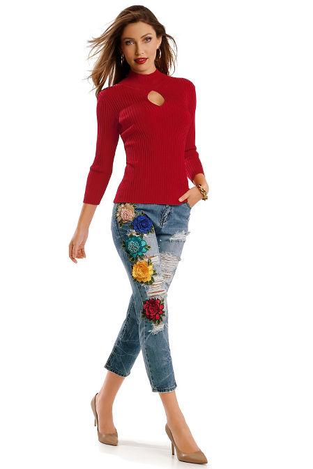 3D multicolor flower crop jean image