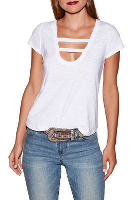 Bar short sleeve slub top
