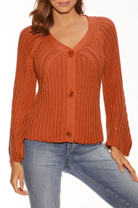 Big button bell sleeve cardigan image