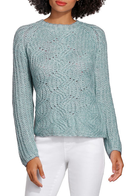 Blouson sleeve cabled sweater image