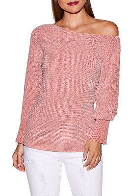Chenille boat neck slouchy sweater