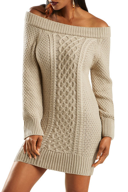 Chunky cable off the shoulder dress image