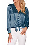 Covered Button Satin Blouse Photo