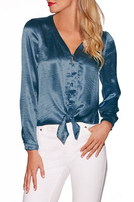 Covered button satin blouse