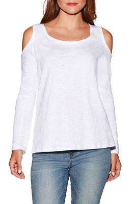 Cold shoulder long sleeve slub top