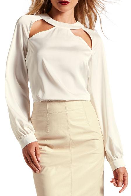Cutout charm long sleeve blouse image