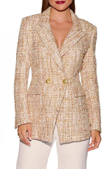 Double breasted tweed blazer image
