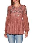 Embellished Lace Peplum Long Sleeve Top Photo