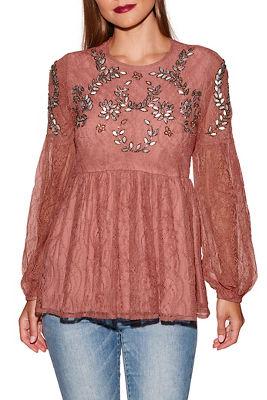 Embellished lace peplum long sleeve top