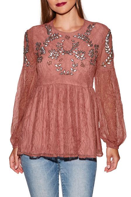 Embellished lace peplum long sleeve top image