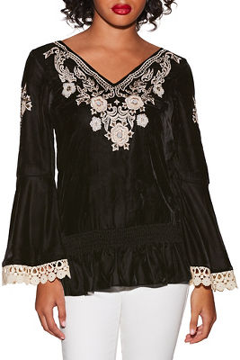 Embroidered velvet blouson top