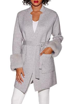Faux fur cuff wrap sweater coat