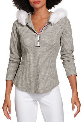 Faux fur hoodie long sleeve top