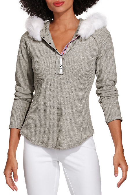 Faux fur hoodie long sleeve top image