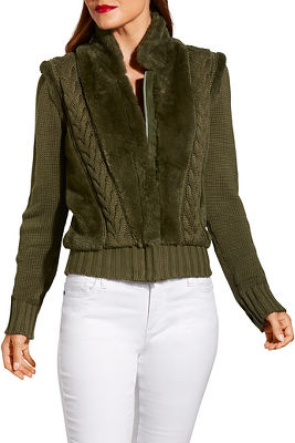 Faux fur zip up cabled cardigan