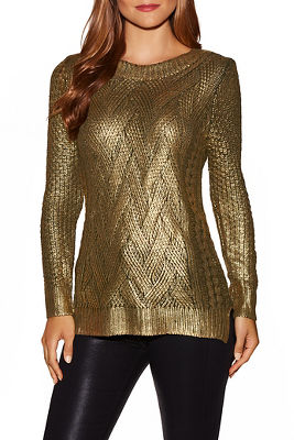 Gold foiled crew neck sweater