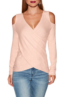 So soft cold shoulder surplice top