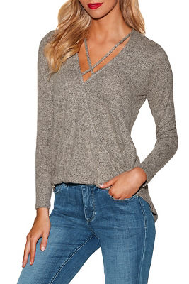 So soft surplice x neck long sleeve top