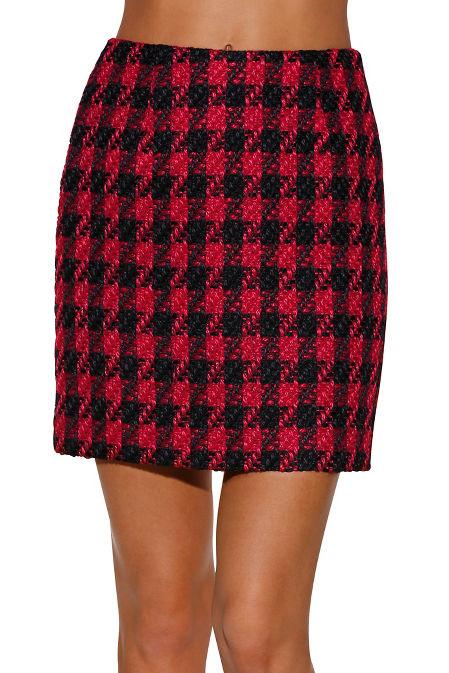 Houndstooth tweed mini skirt image