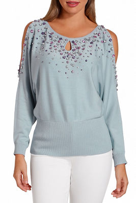 jeweled cold shoulder keyhole sweater
