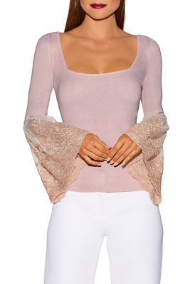 Lace bell sleeve shimmer sweater