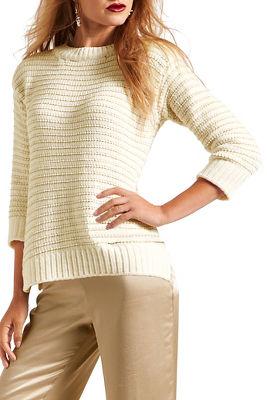 shimmer stripe crew neck sweater