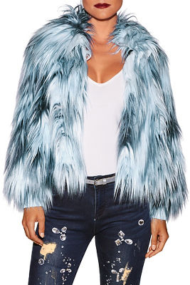 Multicolor icy faux fur jacket