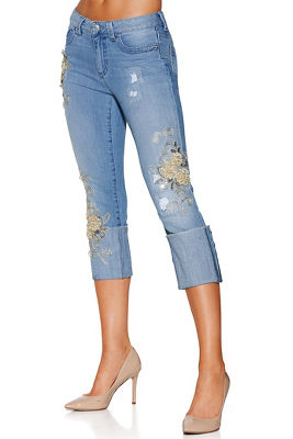 Neutral flower cuff jean