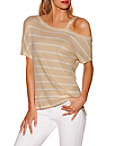 One Shoulder Striped Thermal Top Photo