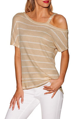 One shoulder striped thermal top