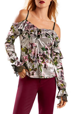 Printed velvet cold shoulder ruffle top