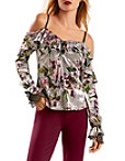 Printed Velvet Cold Shoulder Ruffle Top Photo