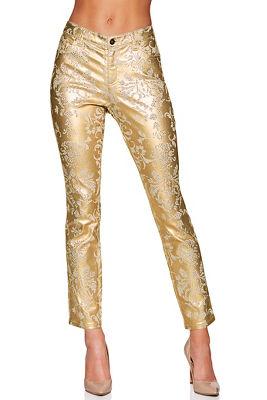 Paisley foil shimmer skinny jean