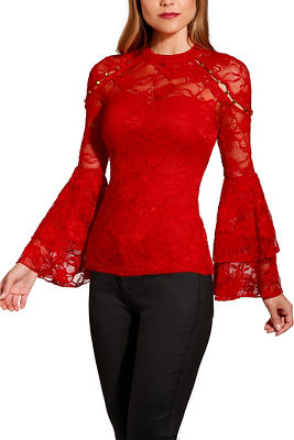 Studded lace flare sleeve top
