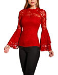 Studded Lace Flare Sleeve Top Photo