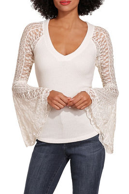 thermal lace flare sleeve top