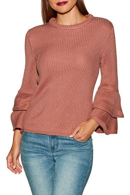 tiered ruffle sleeve crew neck sweater