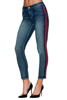 Velvet racer stripe ankle jean