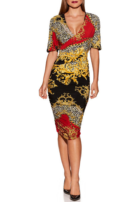Animal chain cape ruched dress image