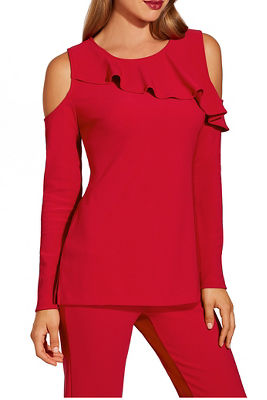 Beyond travel ™ cold shoulder ruffle long sleeve top
