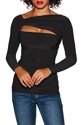 Sleek ruched cutout top
