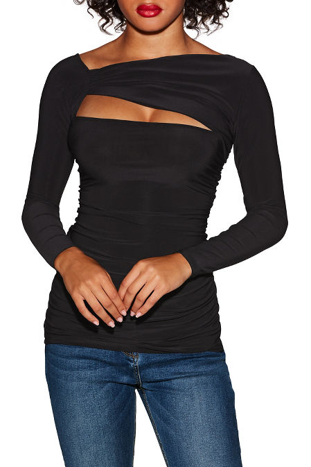 Sleek ruched cutout top image