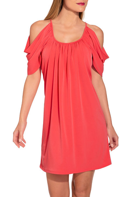 Cold shoulder scoop-neck dress image