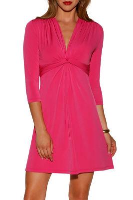 Three-quarter sleeve flirty knot dress