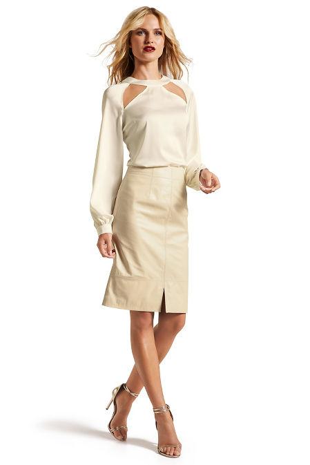 High waist leather skirt image