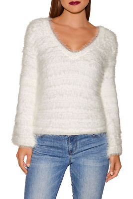 V neck bell sleeve cozy sweater